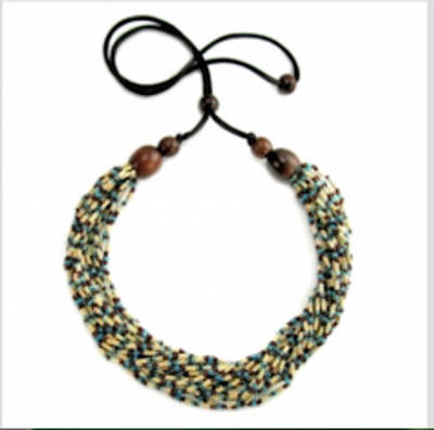 "Handmade Zulugrass African Necklace ""Snake"""