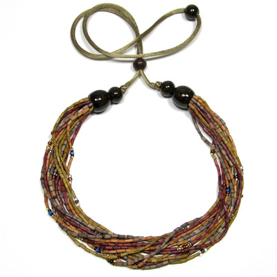 "Handmade Zulugrass African Multi-Strand Necklace ""Spice"""