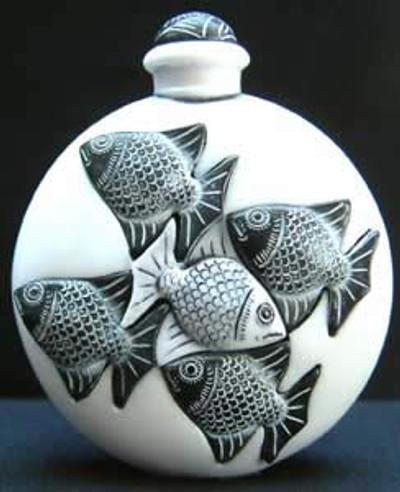Fish Marble Perfume Bottle, White - Symetree Series