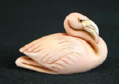 Flamingo Palm Charm , Ivory (pink finish) -