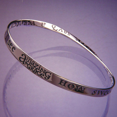 Amazing Grace Sterling Silver Bangle