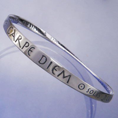 Seize The Day Sterling Silver Bangle
