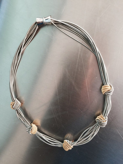 Silver Piano Wire Necklace w/ Gold Knots