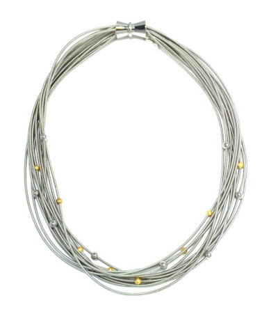 Piano Wire Necklace w/ Silver & Gold Beads