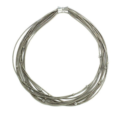 Piano Wire Necklace w/ Silver Beads