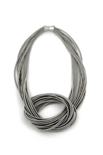 Piano Wire Necklace w/ Large  Knot (Silver)