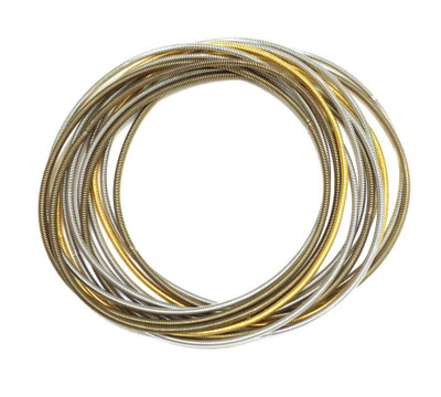 Silver, Bronze, Gold Multi-Band Piano Wire  Bracelet Set - Unbound