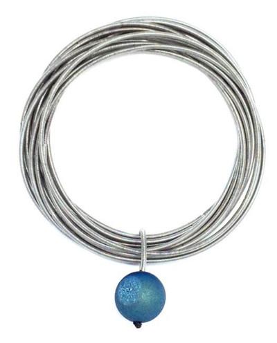 Silver Piano Wire Bracelet w/ Blue Geode Stone