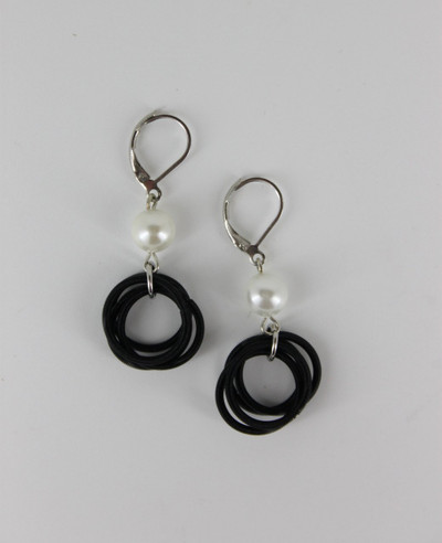 Black Piano Wire Loop with White Pearl Earrings