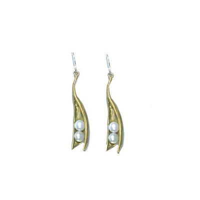 Pea Pod  2- Pearl Drop Fishhook Earrings