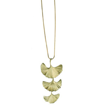 "Ginkgo ""Bold"" 3-Leaf Pendant Necklace"