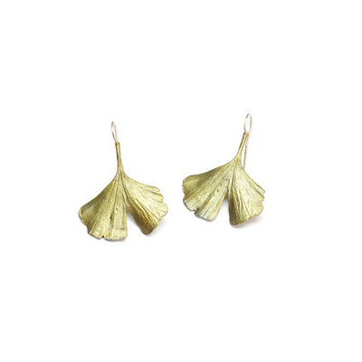 Ginkgo Fish Hook Earring (Large)