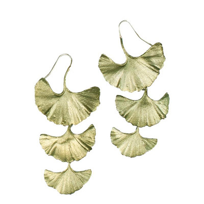 "Ginkgo 3-Tier ""Drop Wire"" Fish Hook Earring"