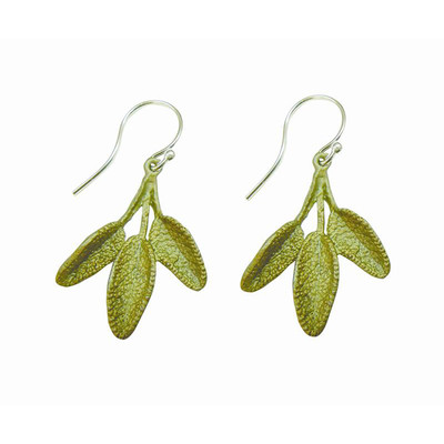 "Petite Herb Sage  ""Wire"" Fishhook Earrings"