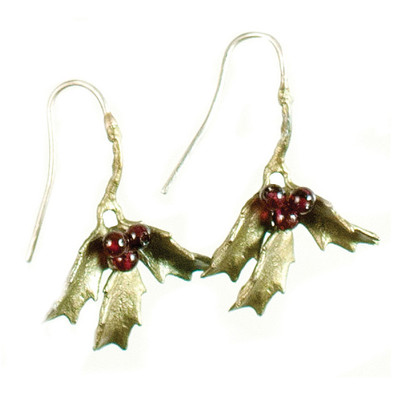 Holly Fishhook Garnet Earrings
