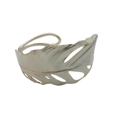 Feather Silver Cuff Bracelet