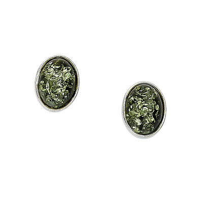 Bezel Set Oval Earrings in Green Amber