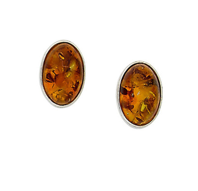 Bezel Set Earrings in Honey Amber