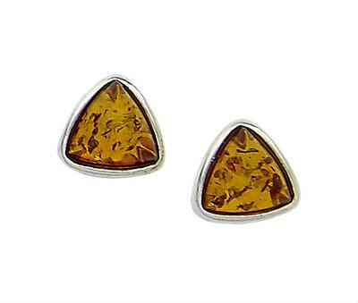 Bezel Set Triangular Earrings in Honey Amber
