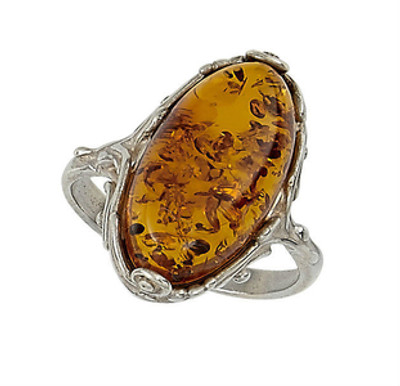Oval Scroll Ring in Honey Amber
