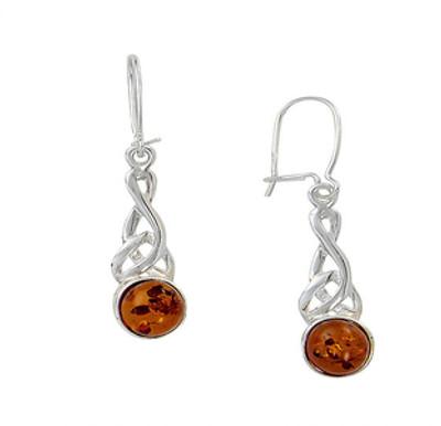 Celtic Wire Earrings in Honey Amber