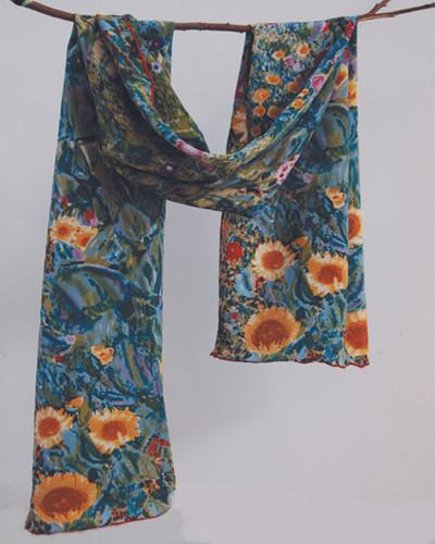 Garden of Sunflowers Silk Scarf