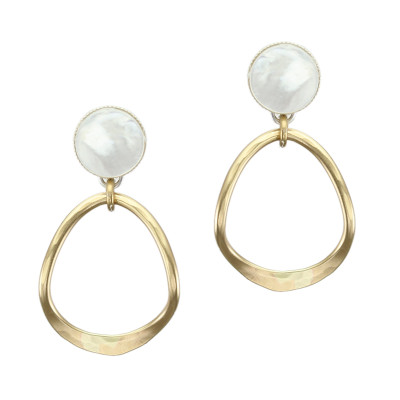 Gold Tone Hoops with Mother of Pearl