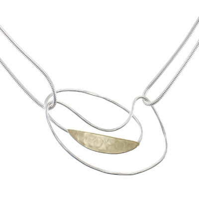Two-Tone Abstract Oval Necklace with Silver Chain