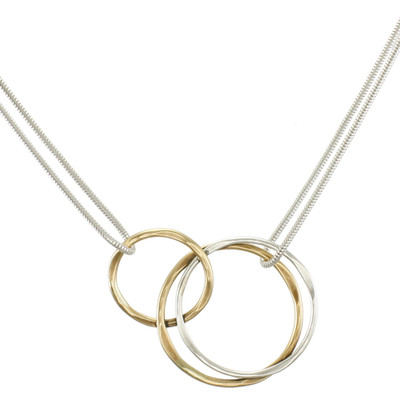 Two-Tone Interlocking Rings Necklace