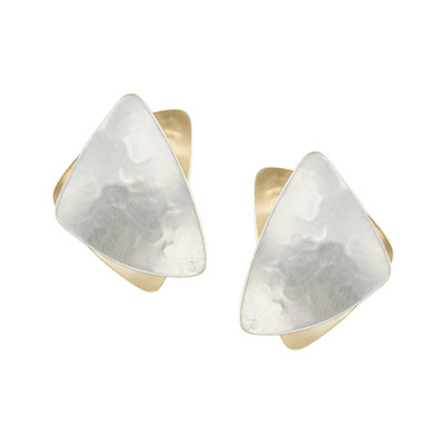 Two-Tone Stacked Triangle Clip-On Earring