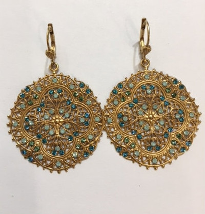 Classic  Round Filagree Earrings with Swarovski Pacific Opal and Teal Crystals