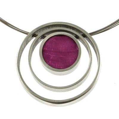 Triple Ring Reversible Magenta/Bright Violet Necklace