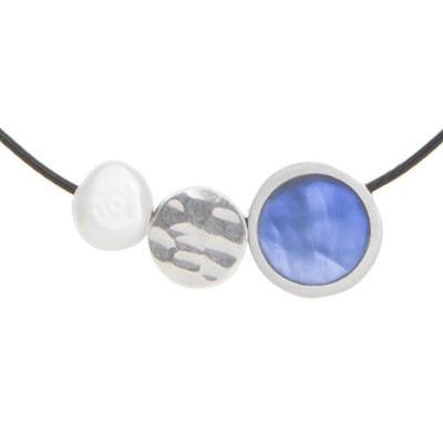 Reversible Mini 3-Pce. Necklace w/ Pearl Pendant on Cord Turquoise/Star Sapphire