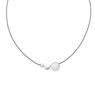 Reversible Necklace- Mini 3-Pce. w/ Pearl Pendant on Cord White/Charcoal