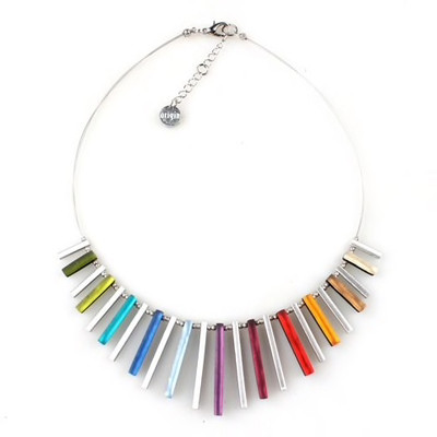 """Rainbow"" Square Sticks Necklace"