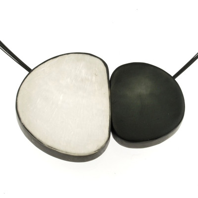 """""""White/Charcoal"""" Large Pebbles Magnetic Front Lock Pendant"""