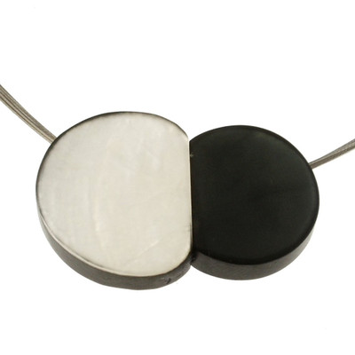 """""""White/Charcoal"""" Small Pebbles Magnetic Front Lock Pendant"""