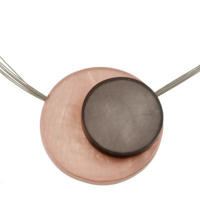 Large Orbital Magnetic Front Lock Pendant Peach/Zinc