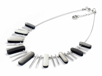 Steel Silver Combo Sticks Necklace w/Shell