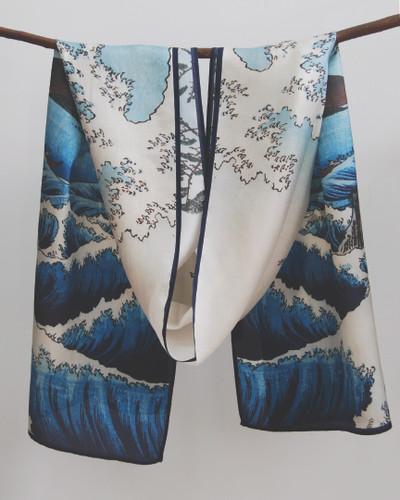 Blue Wave Silk Scarf