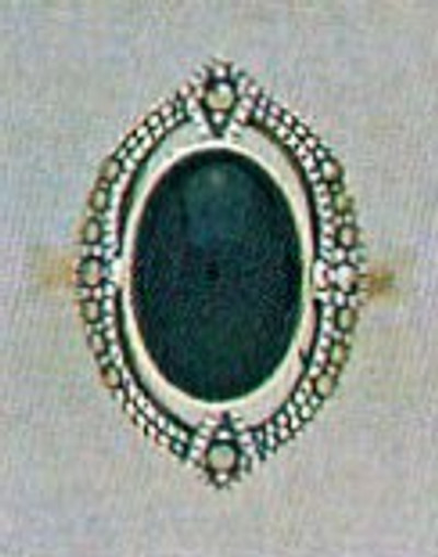Marcasite w/ Oval Onyx Ring - Size 8