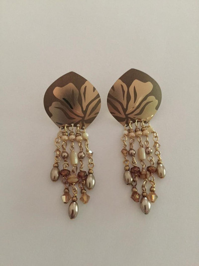 Daylily Drop Post Gold Tone Beaded Earrings