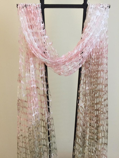 Open Weave Silk Scarf, Rose Garden