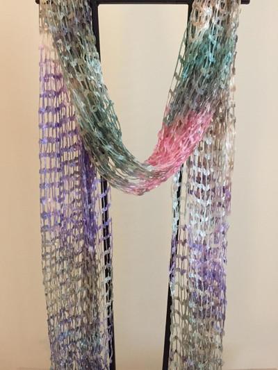 Open Weave Silk Scarf, Floral Melange
