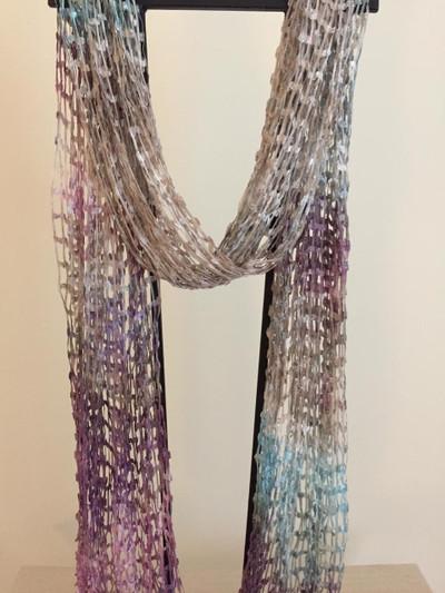 Open Weave Silk Scarf, Mauve Medley