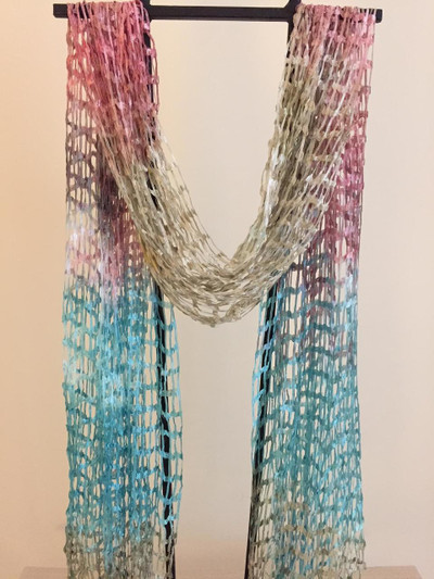 Open Weave Silk Scarf, Turquoise Bouquet