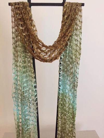 Open Weave Silk Scarf, Hint of Mint