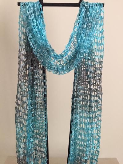 Open Weave Silk Scarf, Blue Lagoon