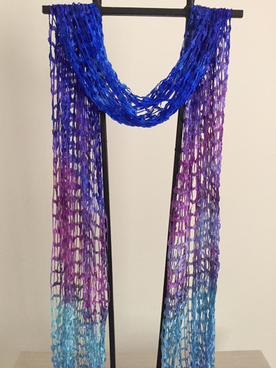 Open Weave Silk Scarf, Royal Caribean