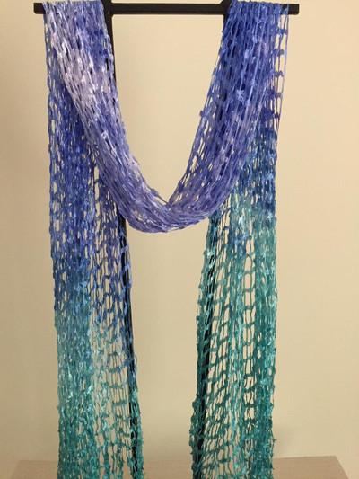 Open Weave Silk Scarf, Tanzanite Vision